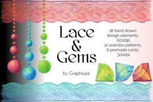 Lace and Gems - Illustratration Kit