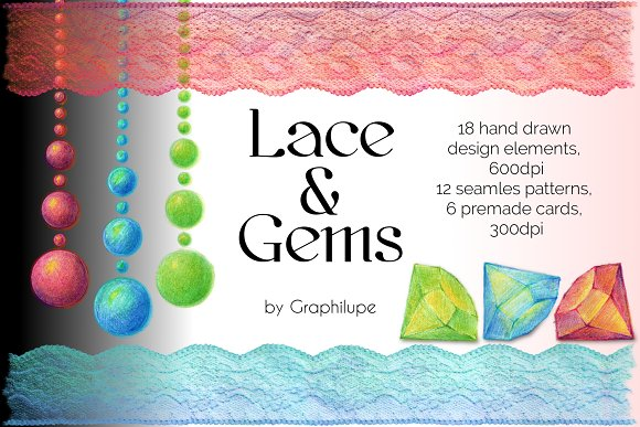 Lace And Gems Illustratration Kit