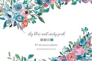Watercolor Blue & Misty Pink Florals