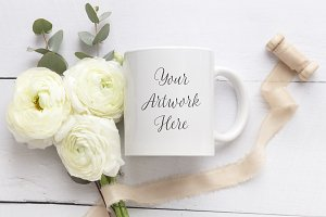 Wedding theme mug mockup