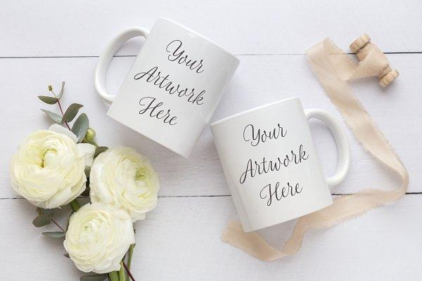 de3eda0a8 Wedding Double Mug Mockup PSD Mockup - Mockups Frames Free PSD Templates