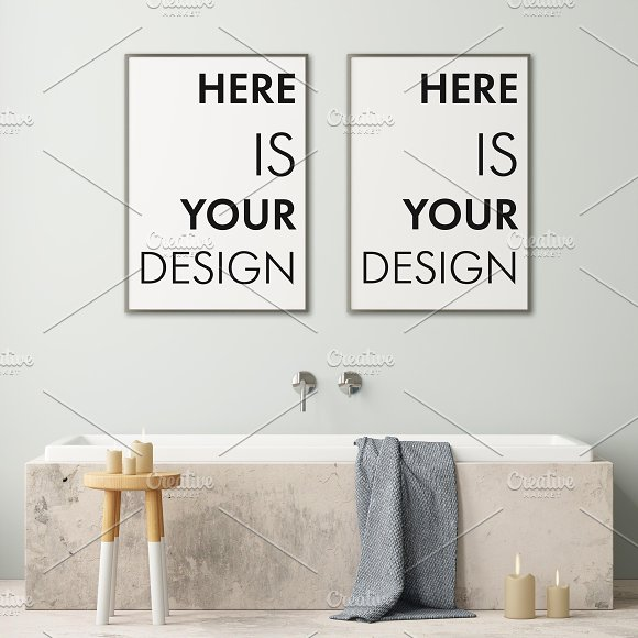 Mockup posters in the bathroom part1 in Print Mockups - product preview 1