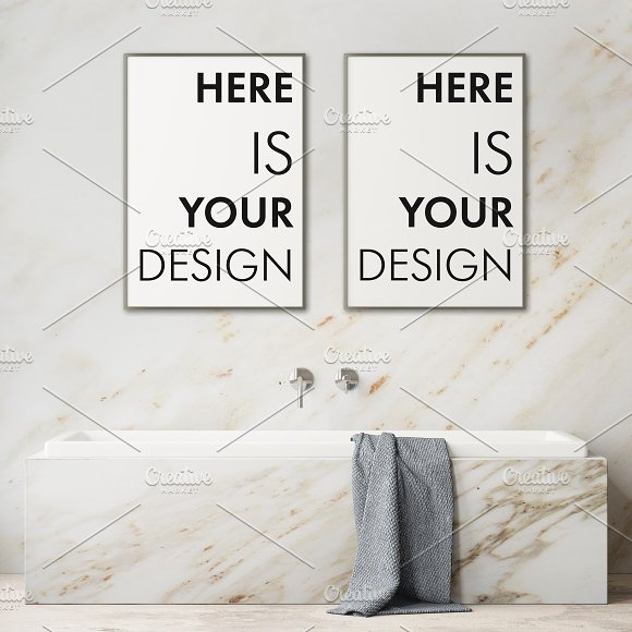 Mockup posters in the bathroom part1 in Print Mockups - product preview 3