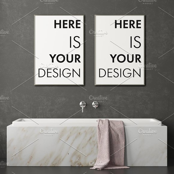 Mockup posters in the bathroom part1 in Print Mockups - product preview 6