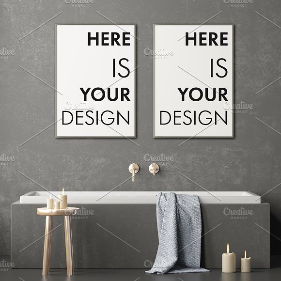 Mockup posters in the bathroom part1 in Print Mockups - product preview 7