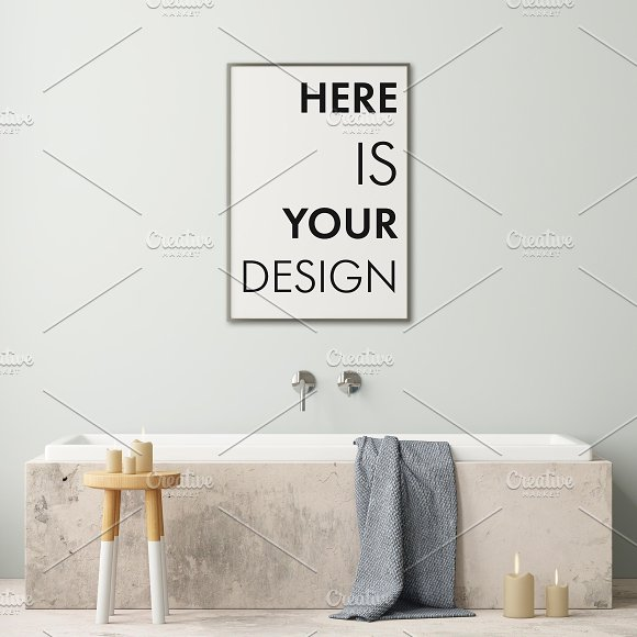 Mockup posters in the bathroom part1 in Print Mockups - product preview 8