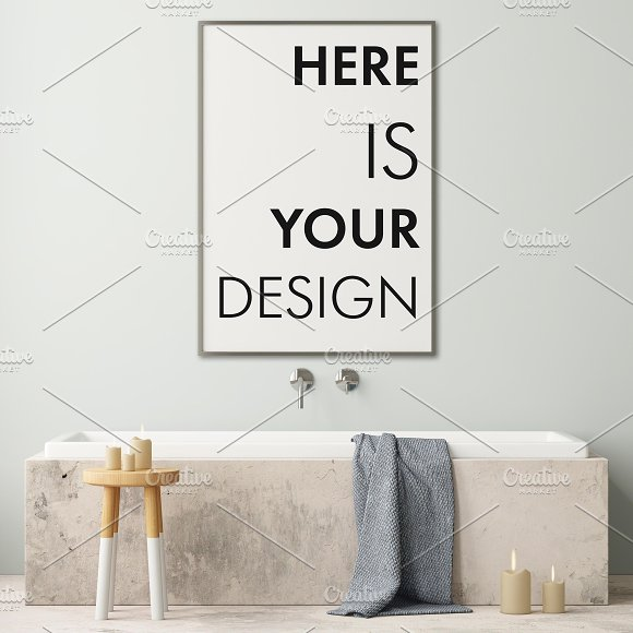 Mockup posters in the bathroom part1 in Print Mockups - product preview 9