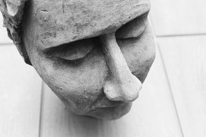 Sculpture´s head detail Black White