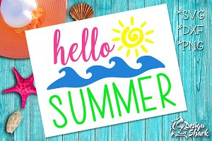 Hello Summer SVG/DXF/PNG