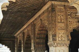 Red Fort columns, Delhi India