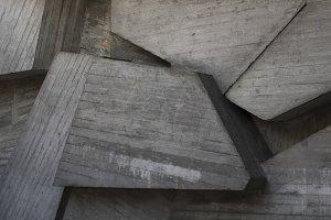 Brutalist gray concrete wall