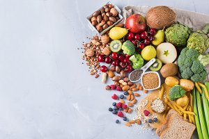 Selection of healthy rich fiber sources vegan food for cooking