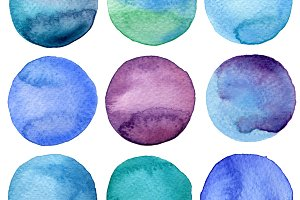 Watercolor painted circles
