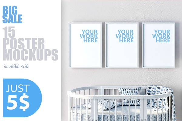15 PSD Frame mockups with child cri…