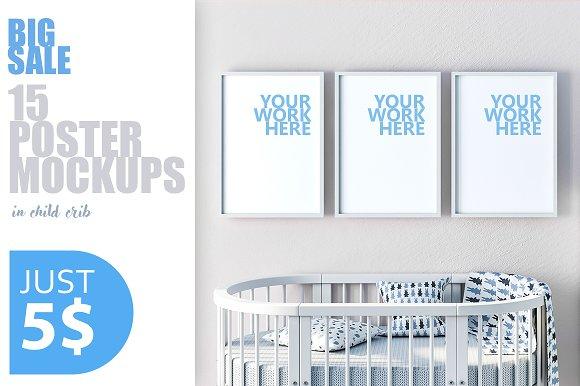 15 PSD Frame Mockups With Child Crib
