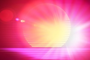 Retro arcade sun with dramatic light leak design illustration