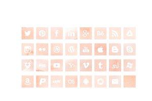 Pink Watercolour Social Media Icons