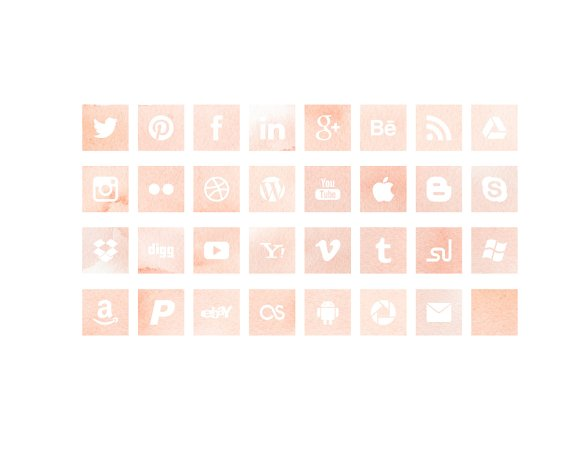 Pink Watercolour Social Media Icons