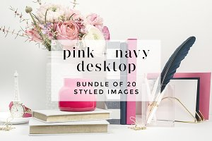 Pink + Navy Styled Desktop Bundle