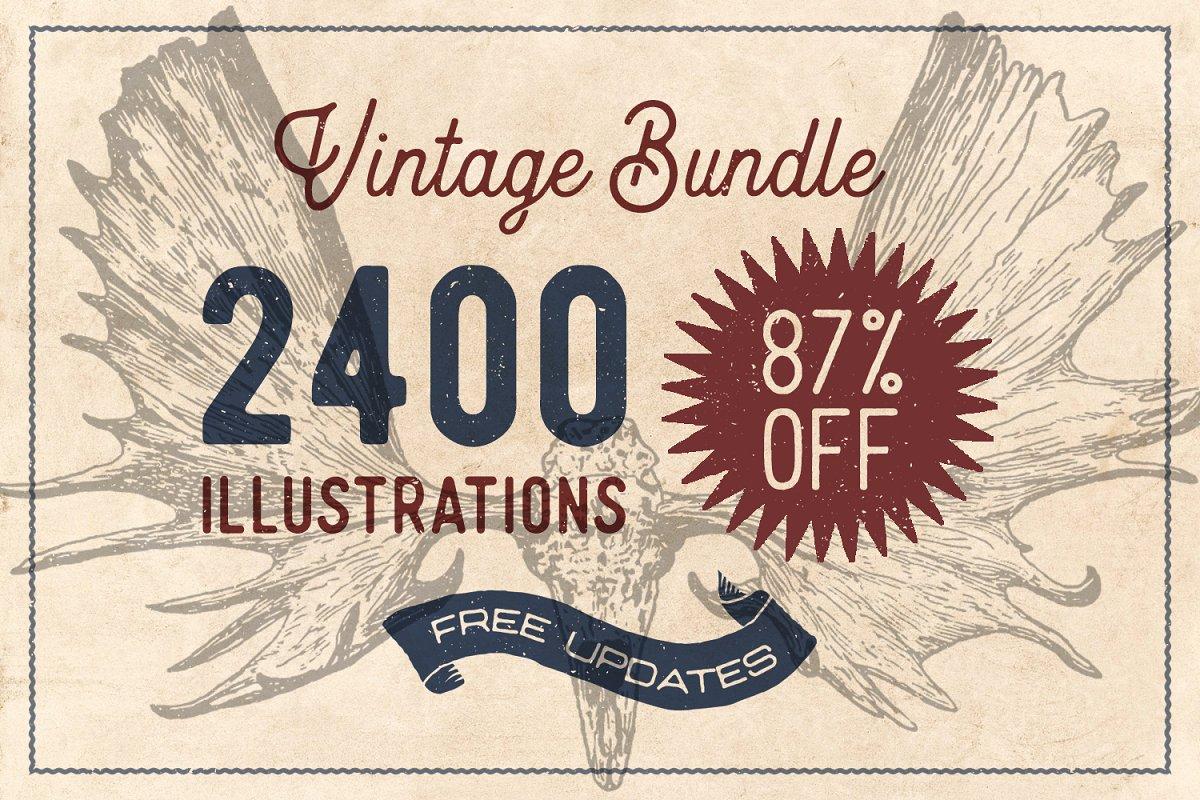 90c9dbdee46 87% OFF Vintage Bundle - Free Update ~ Illustrations ~ Creative Market