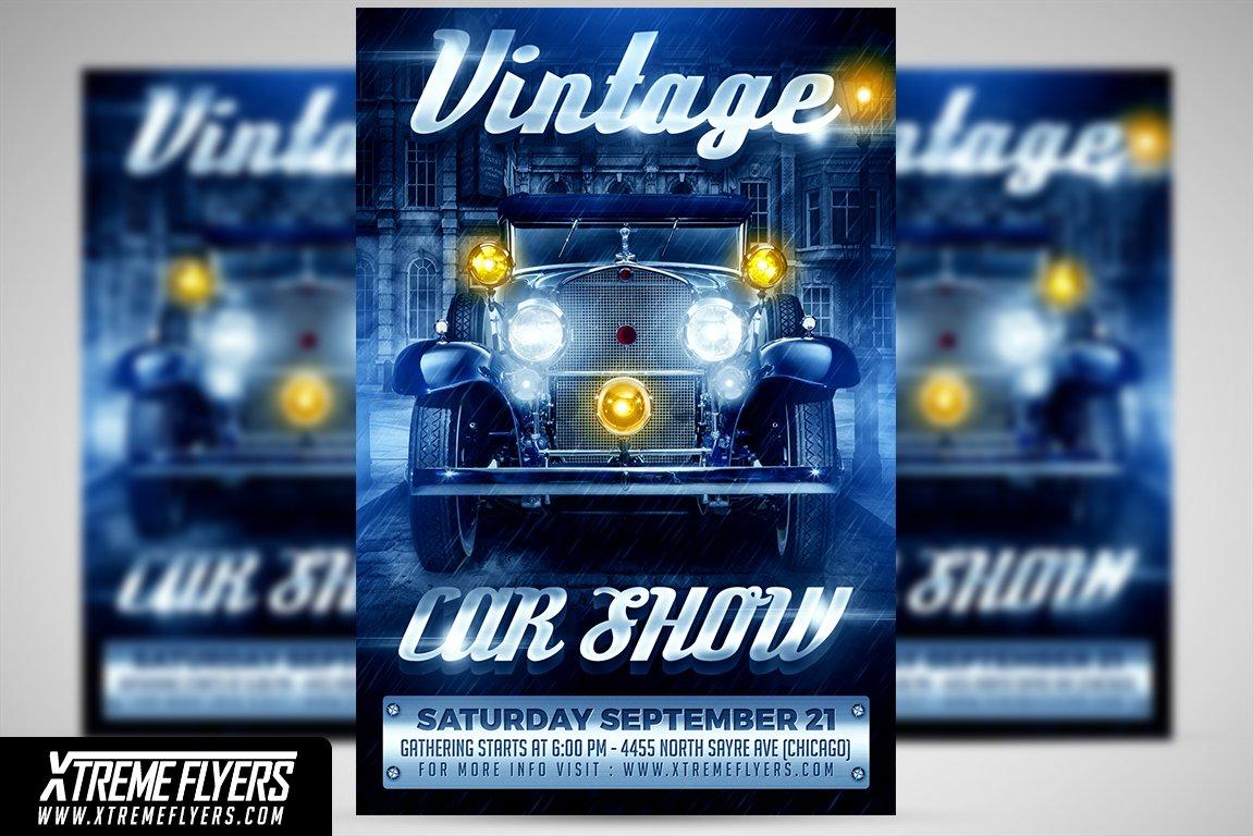 Vintage Car Show Flyer Flyer Templates Creative Market - Car show flyer
