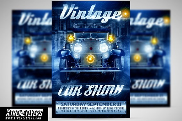 Vintage Car Show Flyer Flyer Templates Creative Market
