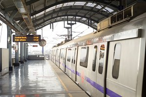 Metro train arrival, Delhi India