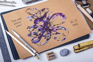 7 Hand drawn watercolor elements