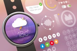 Watch Wear UI Kit. Fully EPS vector.