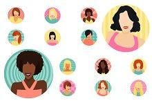 Female avatars set 52 icons