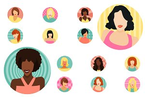 Female avatars set 52 icons