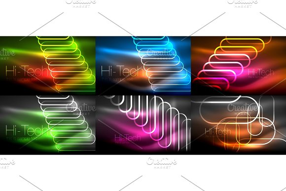 Set Of Glowing Ellipses Dark Background Waves And Swirl Neon Light Effect Shiny Vector Magic Effects