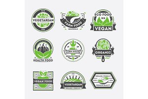 Vegetarian food vintage isolated label set
