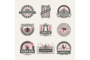 Circus vintage isolated label set