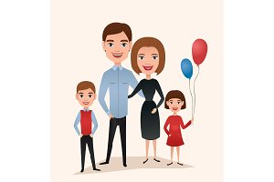 Happy family couple with children