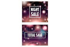 Offer banner on cosmic galaxy background set