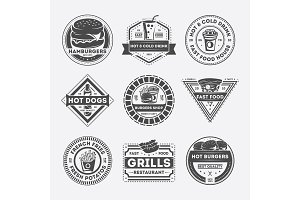 Fast food vintage isolated label set