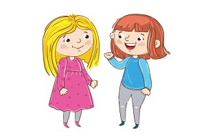 Happy young girl cartoon characters