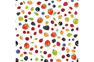Fresh berry fruit seamless pattern
