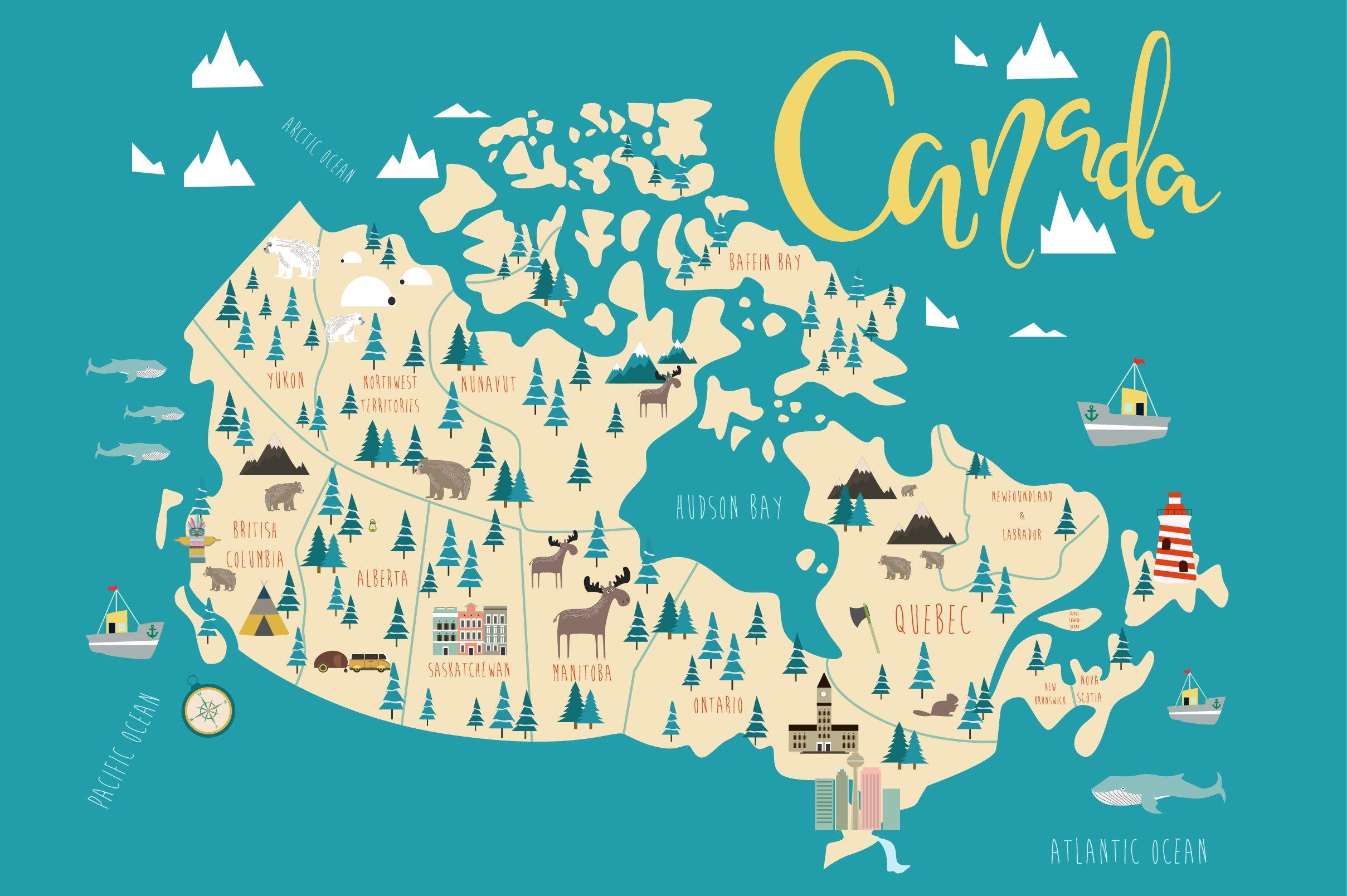 illustration of canada map illustrations creative market map1 1096125 illustration of canada map asia landmarks map artmarketingme