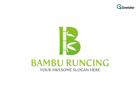 Letter B Bambu Runcing Logo