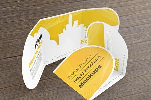Rounded Square Tri-Fold Mockups