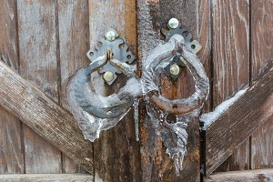 Vintage gates handle covered with snow
