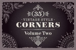 35 Vector Vintage Style Corners Set