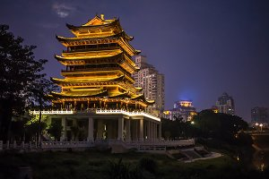 China Beijing ancient architecture pavilions at  night.