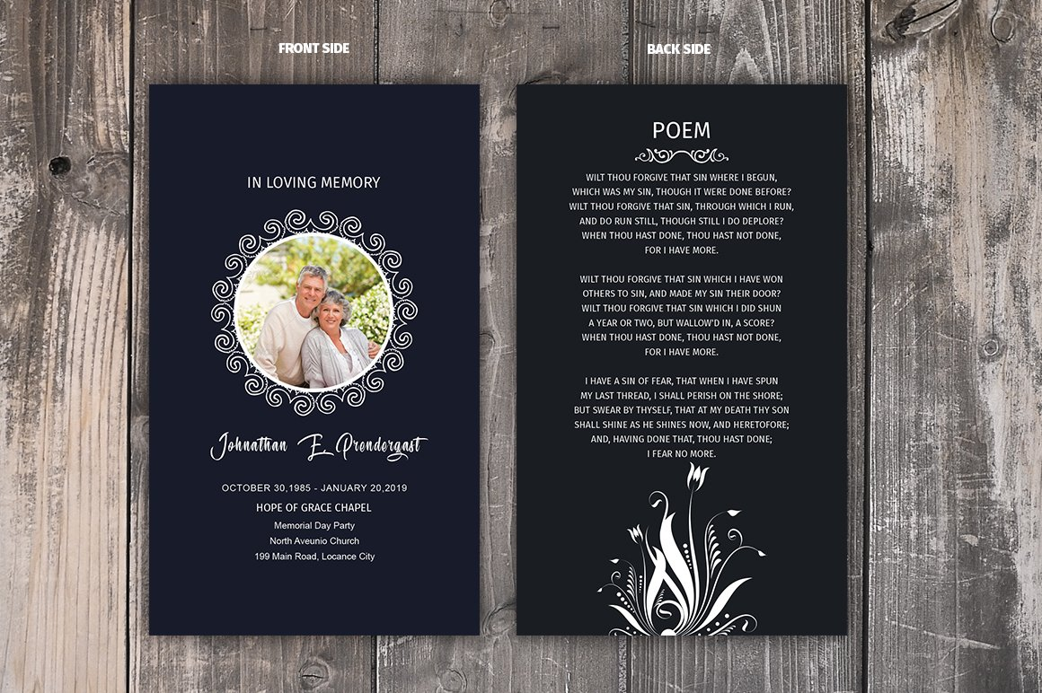 Funeral Prayer Card Template ~ Brochure Templates ...
