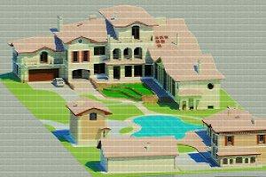 3D render master plan. Pixels.