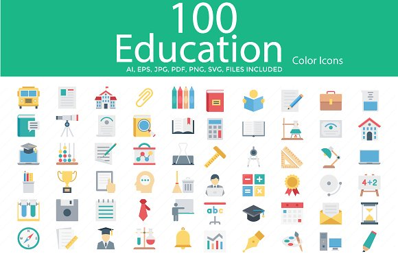 100 Education Color Vector Icons