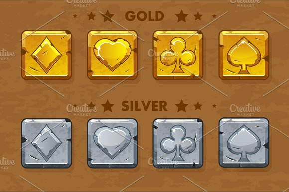 Peak Tref Chirva And Tambourine Old Golden And Silver Poker Symbols Icons For Game Assets
