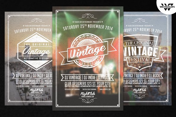 Vintage Retro Flyer Template Vol2 Flyer Templates on Creative – Retro Flyer Templates